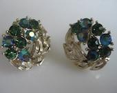 Vintage LISNER Rhinestone Aurora Borealis AB  Earrings Mad Men Style