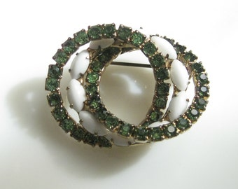 Vintage Intertwined Forever Symbol Eternity Circles Pin Brooch with Milkglass & Rhinestones