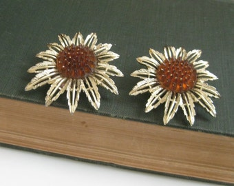 Sarah Coventry Starburst Earrings Vintage Amber Clip Earrings SARAH COV