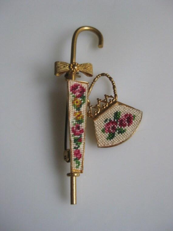 Sweet Vintage Floral Petit Point PURSE & UMBRELLA Pin Brooch