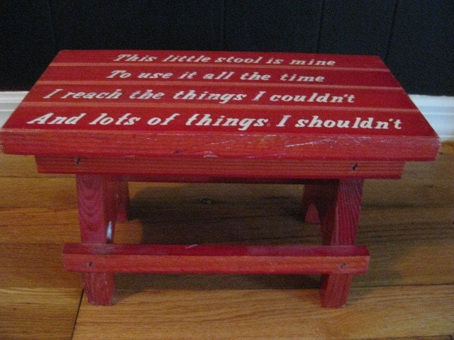 Vintage Child S Little Red Step Stool With Saying So