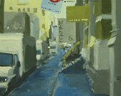 """NYC Street Scape Original Painting . """"Wooster Street"""" 14x11 in."""