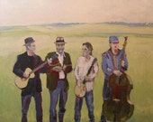 Guitar Painting . Evil City String Band 30x30 in