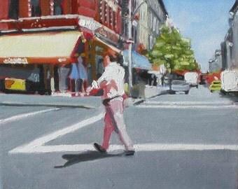 """NYC Street Scene Original Painting . """"Street Walker"""" 12x12 in."""