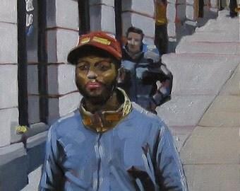 "NYC Street Scene Original Painting . ""Down in D.U.M.B.O."" 10x10 in."