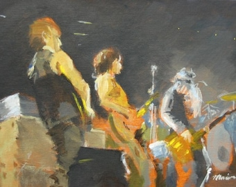 """Jam Band Original Painting . """"One Two Three"""" 9x12 in."""