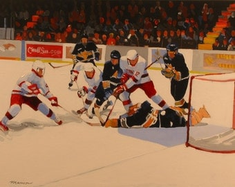 """Ice Hockey Original Painting . """"In the Crease"""" 30x40 in."""