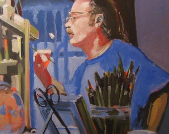 "Original Portrait Painting of a Painter . ""The Painter (Paul McMillan)"" 30x30 in."