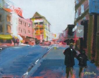 "Manhattan Chinatown Original Painting . ""On Centre Street"" 11x14 in."