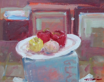 """Original Still Life Painting of Peppers and Onion . """"Still Life with Peppers and Onion"""" 11x14 in."""