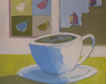 """Original Coffee Cup Painting . """"Morning Coffee"""" 30x30 in."""