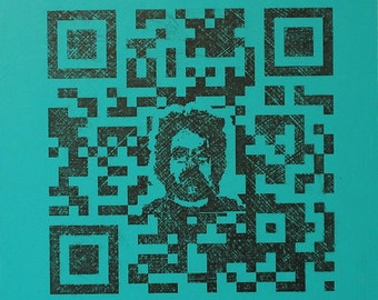 QR Code Original Painting/Print . Self Portrait in Black & Aqua . 10x10 in.