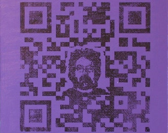 QR Code Original Painting/Print . Self Portrait in Black & Purple . 10x10 in.