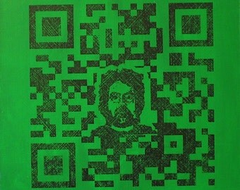 QR Code Original Painting/Print . Self Portrait in Black & Green . 10x10 in.