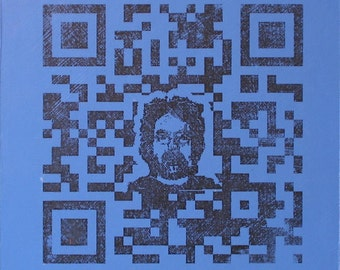 QR Code Original Painting/Print . Self Portrait in Black & Blue Violet . 10x10 in.
