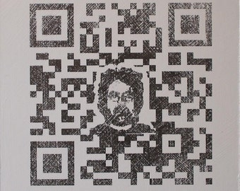 QR Code Original Painting/Print . Self Portrait in Black & White . 10x10 in.