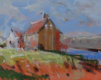 "Original Barn Painting . ""Red Barn"" 9x12 in."