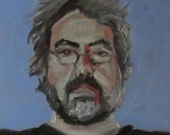 "Original Self Portrait Painting . ""Black & Blue"" 10x10 in."