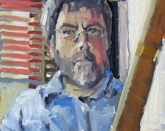 "Original Self Portrait Painting . ""In the Studio"" 14x11 in."