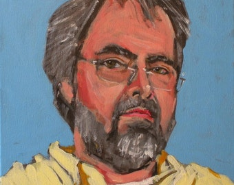 "Original Self Portrait Painting . ""Blue & Yellow"" 12x12 in."