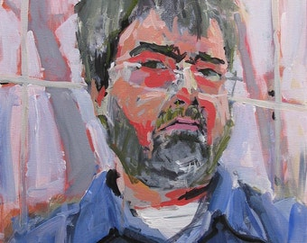 "Artist Self Portrait Painting . ""Factory Worker"" 20x16 in."