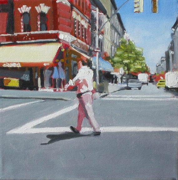 "NYC Street Scene Original Painting . ""Street Walker"" 12x12 in."
