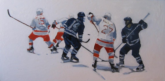 """Ice Hockey Painting . """"Loose Puck"""" 24x48 in."""