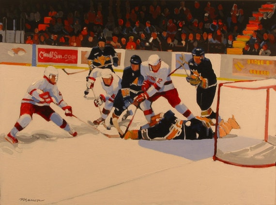 "Ice Hockey Original Painting . ""In the Crease"" 30x40 in."
