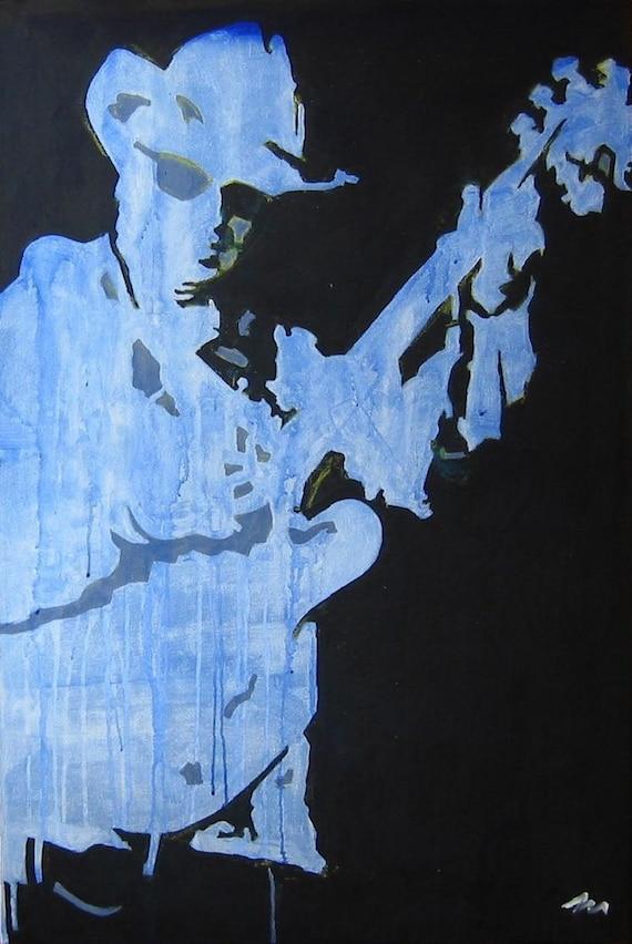 """Guitar Musician Original Painting . """"Guitar Man (blue)"""" 36x24 in."""