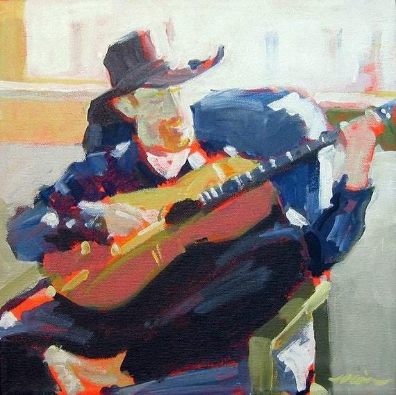 """Original Portrait Painting of Sim Redmond . """"Sim Redmond"""" 12x12 in."""