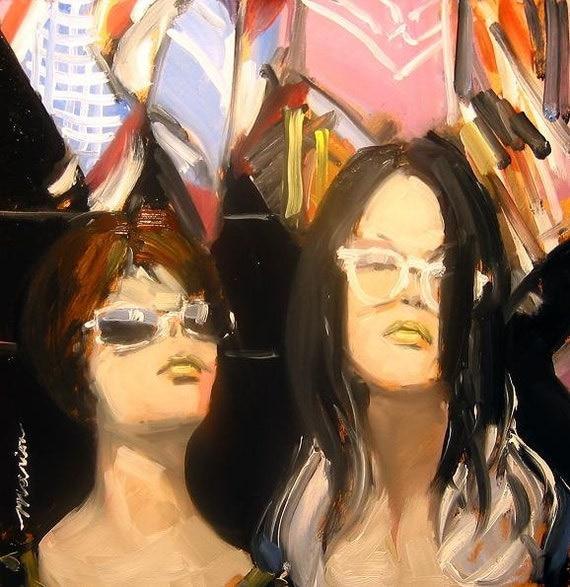 "Original Painting of Mannequins . ""Hippie Chicks"" 10x10 in."