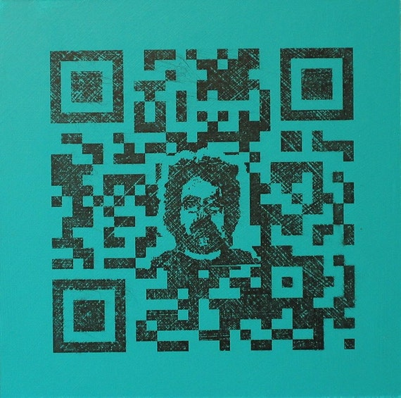 QR Code Original Painting/Print . Self Portrait in Black & Aqua . 10x10 in.