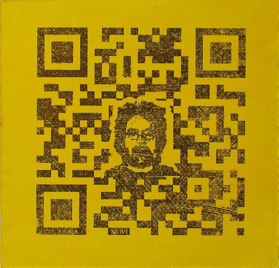 QR Code Original Painting/Print . Self Portrait in Black & Yellow . 10x10 in.