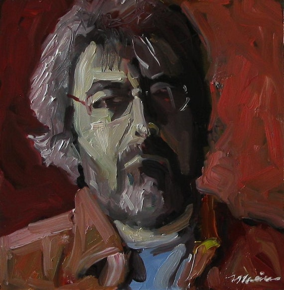 "Original Self Portrait Painting . ""Ed in Red"" 10x10 in."