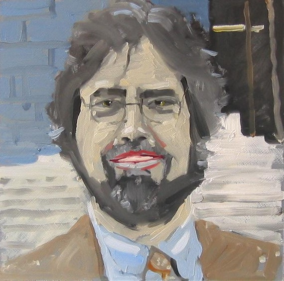 "Original Self Portrait Painting . ""Lawyer"" 10x10 in."