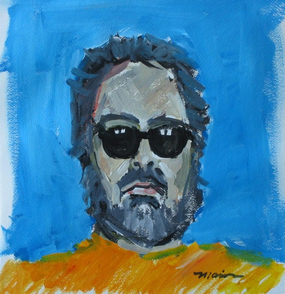 "Original Self Portrait Painting . ""Shades"" 16x15 in."