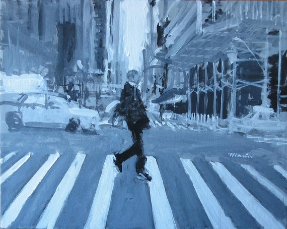 """New York Streetscape Painting . """"A Single Man"""" 16x20 in. [reserved for David H.]"""