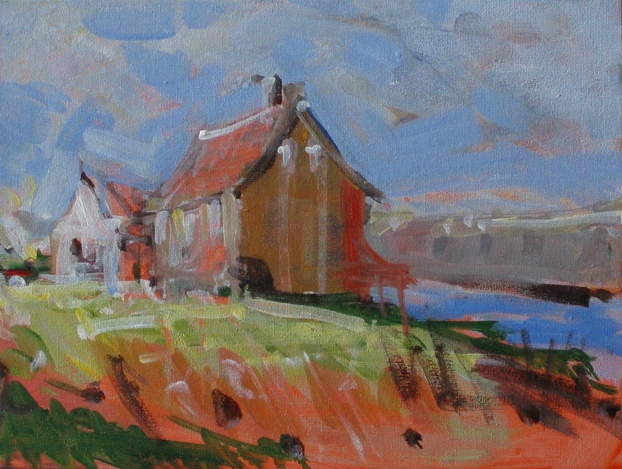 Original barn painting red barn 9x12 in for Watercolor barn paintings