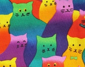 Cat Fabric, Cats Galore Fabric Piece, Multicoloured