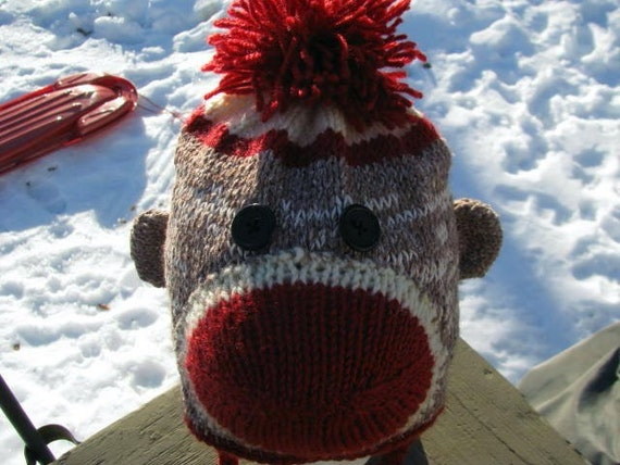 Items similar to Cheeky Sock Monkey Hat with Earflaps on Etsy