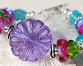 Reserve for Patrice-PURE DELIGHT- Handmade Lampwork and Sterling Silver Bracelet
