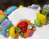 Reserve for Kellie-BERRY SWEET-Handmade Lampwork and Sterling Silver Bracelet