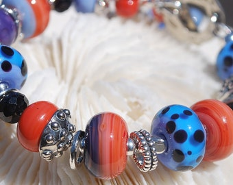 HARMONY-Handmade Lampwork and Sterling Silver Bracelet