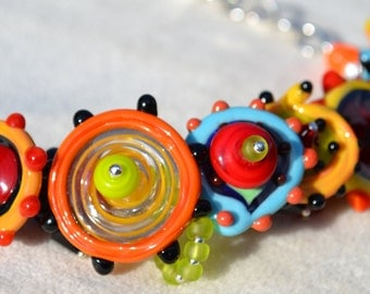 JUBILANT CELEBRATION-Handmade Lampwork and Sterling Silver Necklace
