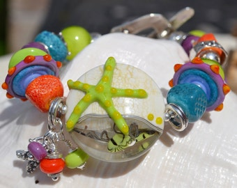 BY the BEAUTIFUL SEA-Handmade Lampwork and Sterling Silver Bracelet