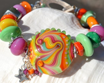 TUTTI FRUITI- Handmade Lampwork and Sterling Silver Bracelet