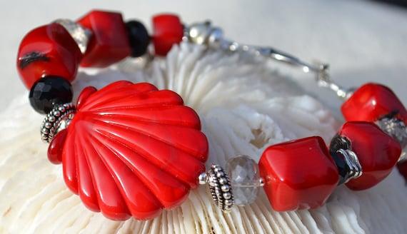 VIBRANT SEAS-Handmade Lampwork and Sterling Silver Bracelet