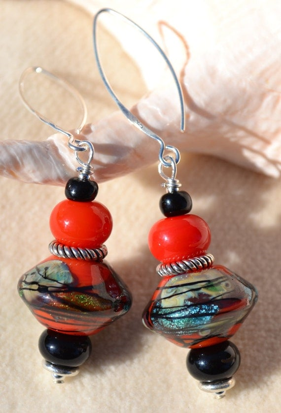 Reserve for Judy-ZEN-Handmade Lampwork and Sterling Silver Earrings