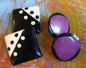 Retro Vintage Post Earrings - White and Black Metal and Black and Purple Round Plastic