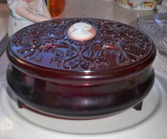 Avon Cameo Powder Box Faux Tortoise Shell Plastic Brown Vanity